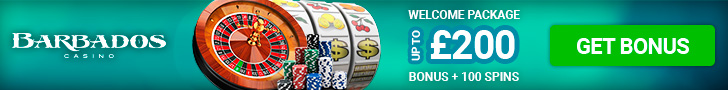 BARBADOS CASINO WELCOME BONUS 100% UP TO £200 + 100 FREE SPINS